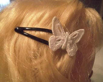 2 pins with white lace Butterfly