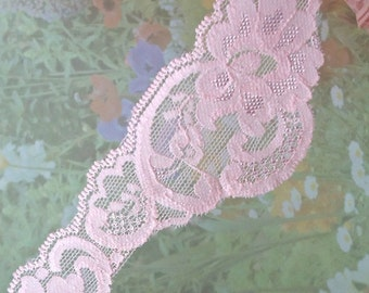3yds Stretch Lace Fancy design Light Pink Elastic Lace Ribbon 2 inch Scalloped Wedding bridal Baby Headbands, lingerie Edging