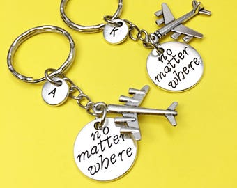 Sale,Best Friend Keychains - set of 2, bff charm, no matter where bff, personalized, initial keychain, friendship jewelry,gift for best, BFF