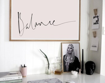 Balance   Handscripted   Modern Bohemian Typographic Wall Art Print or Poster - Simple Scandi Style Design. FREE Shipping