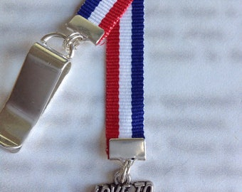 Runners Bookmark / Love to Run Bookmark / Marathon Bookmark / Attach clip to cover then mark page with the ribbon. Never lose your bookmark!