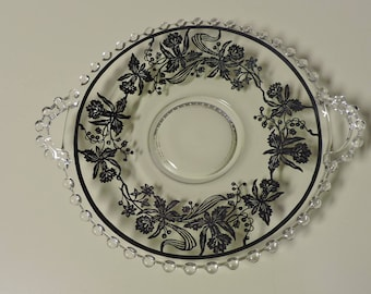 Imperial Glass Candlewick Sterling Orchid Handled Serving Plate or Mayonnaise Underplate