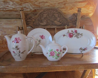 Miniature Rose Porcelain Tea Set Service Made in Japan