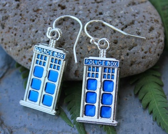 UK Blue Police Box Earrings - sterling silver hooks - Celebrate London England - Free Shipping USA