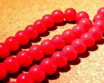 "10 bright glass beads - 8 mm - way ""jade"" - PE259 bright red"
