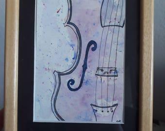 Unique watercolor hand-made on the violin