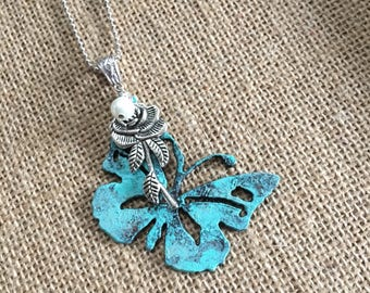 Butterfly Pendant, Turquoise, Roses, Mother's Day, Gifts for Her, Inspirational
