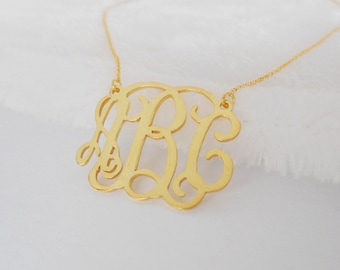 1 inch Monogram Necklace Gold,Personalized 3 Initials Necklace,Cut out Monogram Necklace,Custom Monogrammed Gift,Bridesmaid Gift