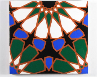 Hand Painted Moroccan Tiles - Ceramic Accent Tiles - Moroccan Coasters - Terracotta Trivet - Sacred Geometry