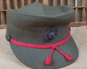Vintage female  23 1/2 US Marine Corp ladies cap green wool blend