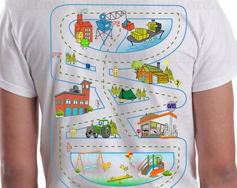 Daddy's Race Track T-Shirt -Play Time with Dad shirt- Car track on the back of a t-shirt, DAD gets a nap and kids get to play-DIGITAL ONLY!