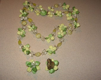 W Germany Necklace Earring Set Vintage Costume Jewelry #5453