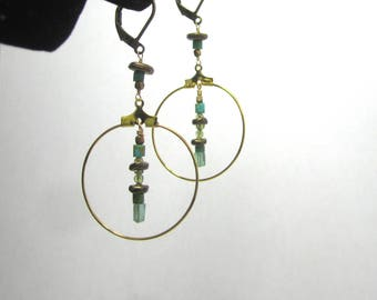Turquoise, Peridot and Apatite Brass Hoop Earrings