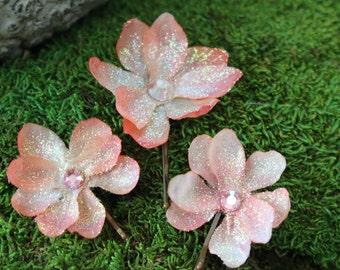 Glittered Peach Blossom Bobby Pin Trio w/ Czech Crystal Center- Handmade Floral Headpiece