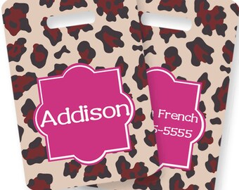 Cheetah Personalized Bag or Luggage Tag, Custom Personalized Bag Tag, Monogrammed Bag Tags, Kids Personalized Bag Tags