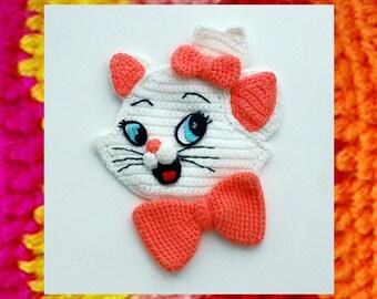 Crochet Applique Pattern. Cartoon Appliques. Kitten Marie. 3d applique. DIY