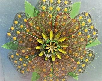 Metal Flower Yellow & Green