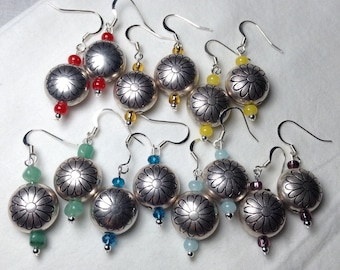 Daisy bubble dangle earrings, silver plated bubblebead, czech glass volor accent, country girl