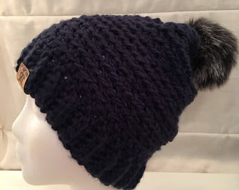 Crochet Beanie navy blue