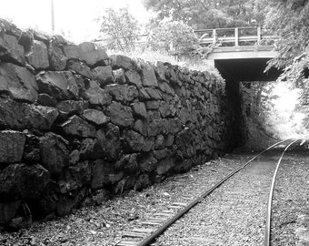 Train Tunnel Black and White Signed Art Print