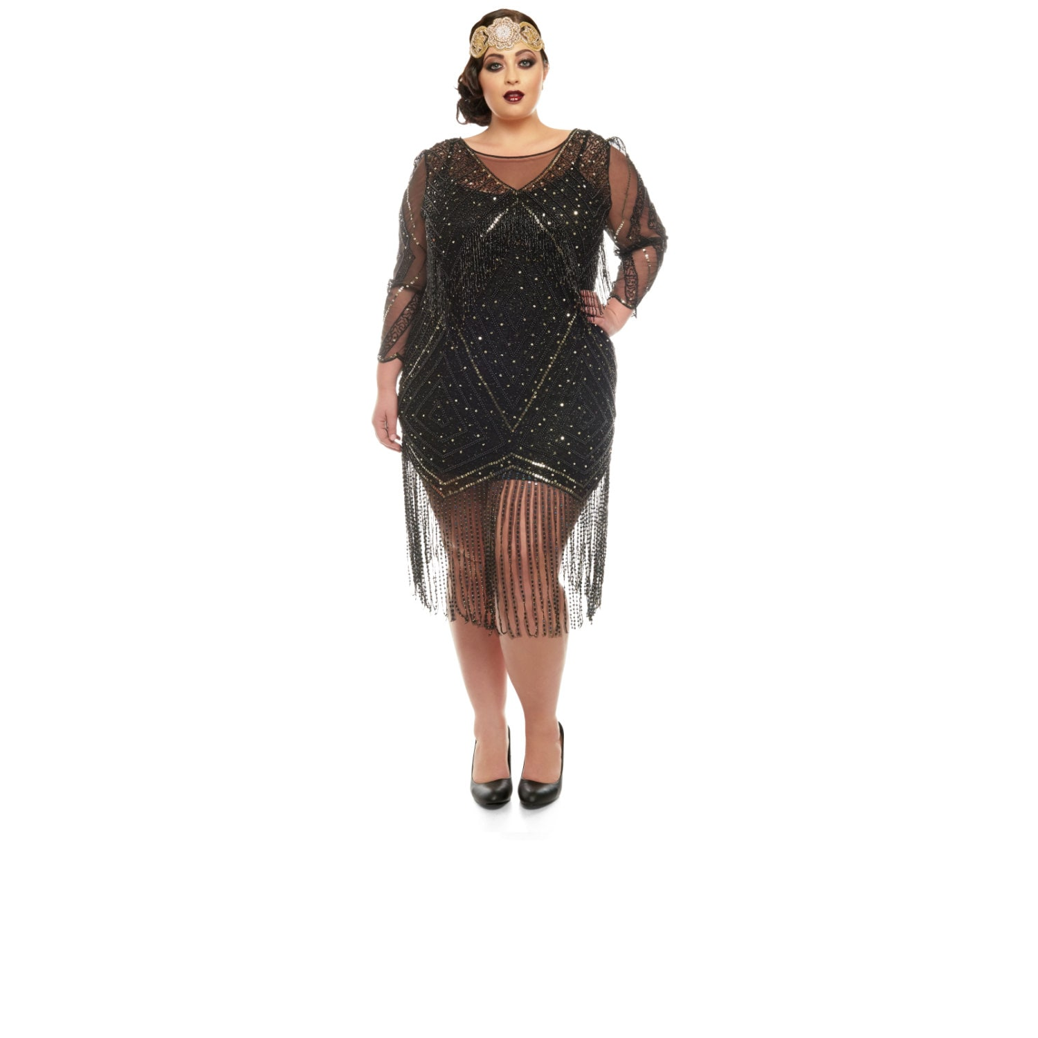 Plus Size Betty Black Fringe Dress With Sleeves Slip Included
