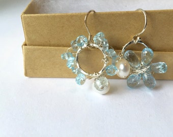 Sky Blue Topaz Assymetrical Earrings, Lilyb444, Jewelry, Sterling silver, White Pearl