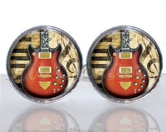 Round Glass Tile Cuff Links - Rock N Roll Guitar CIR137