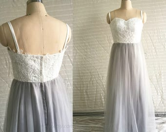 2018 Light Gray Bridesmaid Dress, Strapless Prom Dress, Spaghetti Strap Wedding Dress, Maxi Bridesmaid dress, Long Strapless Formal dress