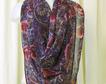 VINTAGE 1980's Scarf, Oversize Scarf, Square Scarf, Large Chiffon Scarf in Pinks, Purples & Grey Floral Print