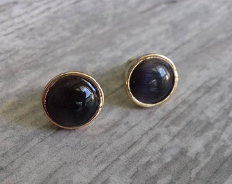 Black gold studs - black gold earrings - gold studs - black earrings - gold earrings - black studs - round studs - black and gold stud