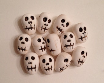 12 Polymer Clay Skelly Head Beads