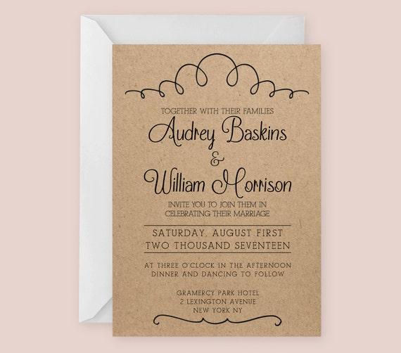 Vintage Hochzeit Einladung Vorlage für Word oder Seiten
