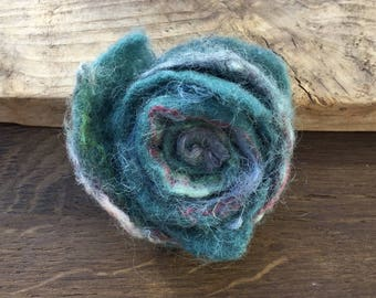 Brooch,corsage,felted,Teal-blue/green, handmade, Merino wool,silk, flower shape,