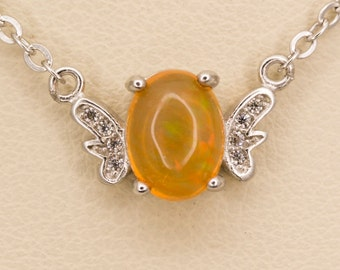 Clear Orange Mexican Opal Sterling Silver Pendant 1ct (MO371P)