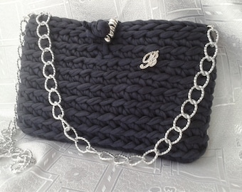 "Hand-held and shoulder-bag, with silver plated chain, lined, handmade in fabric ""jacket"""