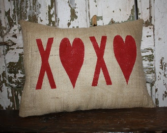 Valentine Pillow,  Valentine, Burlap, Canvas Pillow Cover, Throw Pillow