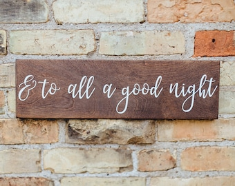 And to All A Good Night Sign, Merry Christmas Rustic Wood Sign, Farmhouse Christmas Sign, Personalized Custom Holiday Wreath Sign