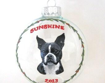 Boston Terrier, Christmas Ornament, Pet Portrait, Pet Painting, Holiday Ornament, Dog Loss Memorial, Animal Art, Custom Portrait