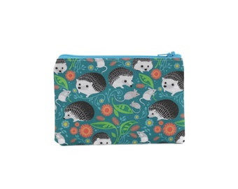 CHOOSE SIZE Mini Zipper Pouch / Cute Hedgehog Bag in Teal Hedgies and Mice