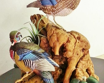 Pair of Wood Ducks Carving