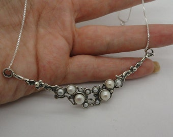 Hadar Jewelry, 925 Sterling Silver Cluster Pearl Pendant, Pearl Necklace, Wedding Necklace, Free Shipping, Bridal Jewelry, White Pearl (4107