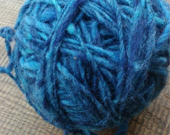 Hand spun wool blue