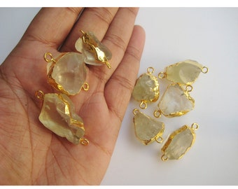 2 Pieces Raw Lemon Quartz Connectors, Gemstone Connectors, Lemon Quartz Stone, 22mm To 28mm Approx