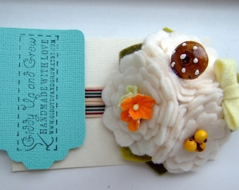 Woodland Treasures Felt Headband Clip with Mushroom Charm and Vintage Flowers