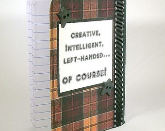 Lefty note book, Left handed notebook, Lefty humor, Leftie gift, Love a lefty, Left handed joke, Brown plaid pattern, Southpaw, Organizer