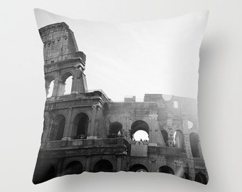 decorative pillow cover, rome italy pillow, photography pillow cover, home decor, europe, travel, black and white, colosseum pillow
