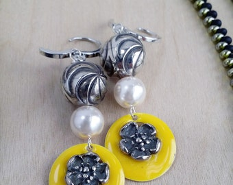 Yellow Enamel, Silver Flowers, & Faux Pearl Earrings