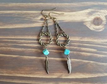 Long Turquoise Earrings. Boho Dangle Earrings. Long Bronze Earrings. Turquoise Jewelry. Bronze Bohemian Earrings. Feather Earrings.