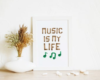Print Wall Art, Music is my life | Typographic print, Home decor wall art, Kids room art, Music art, Nursery artwork, Teenager Gift, 4 size