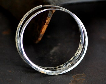 sterling silver hoop earrings, large smooth hammered, mirror polish or your choice, endless style large round hoop, eco friendly